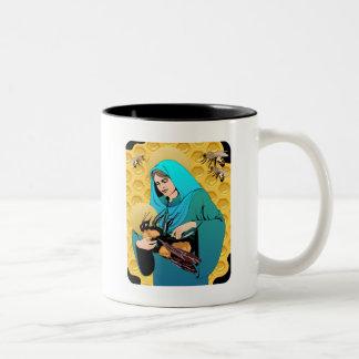 Maagdelijke Mary Madonna & stuntelt Bij Tweekleurige Koffiemok