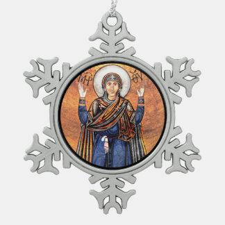 Maagdelijke Mary Oran Tin Sneeuwvlok Ornament