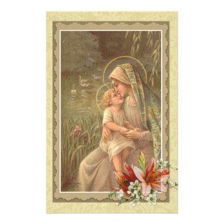 Maagdelijke Moeder Mary Baby Jesus Lily Geese Briefpapier