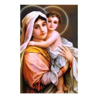 Maagdelijke Moeder Mary met Baby Jesus Briefpapier