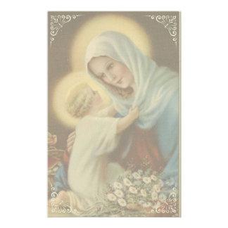 Maagdelijke Moeder Mary met Baby Jesus Daisies Briefpapier