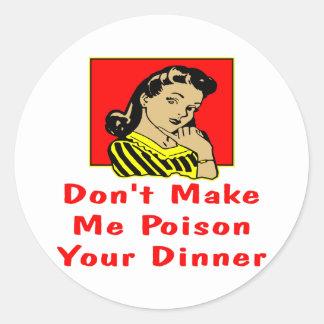 Maak me niet Uw Retro Meisje van het Diner Ronde Sticker