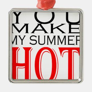maak tot de zomer hete flirt tienergeheugen hete zilverkleurig vierkant ornament
