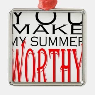 maak tot de zomer waardige flirt tienergeheugen zilverkleurig vierkant ornament
