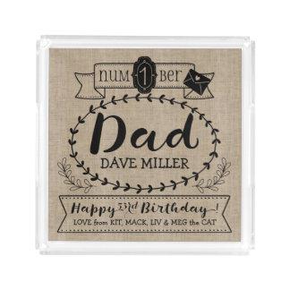 Maak tot Uw Eigen Nummer 1 Verjaardag van de Papa Acryl Dienblad