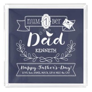 Maak tot Uw Eigen Vaderdag Nr 1 Papa Leuk Monogram Acryl Dienblad