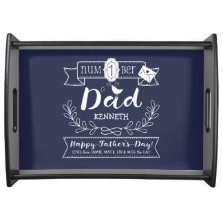 Maak tot Uw Eigen Vaderdag Nr 1 Papa Leuk Monogram Dienblad