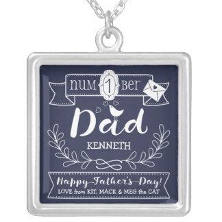 Maak tot Uw Eigen Vaderdag Nr 1 Papa Leuk Monogram Zilver Vergulden Ketting
