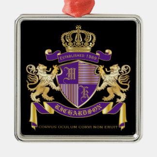 Maak Uw Eigen Embleem van de Kroon van het Zilverkleurig Vierkant Ornament