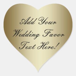 Maak uw eigen Gouden Gunst van het Huwelijk Hart Sticker