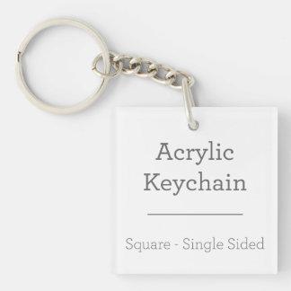 Maak Uw Eigen Vierkante Keychain 1-Zijde Vierkante Acryl Sleutelhanger