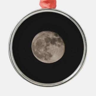 Maan Zilverkleurig Rond Ornament