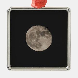 Maan Zilverkleurig Vierkant Ornament