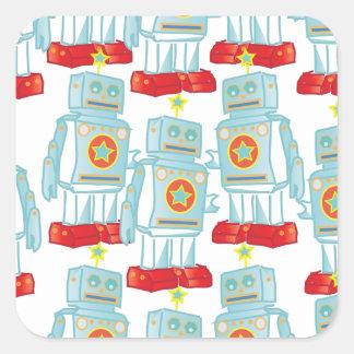 Maart van de robots vierkant stickers