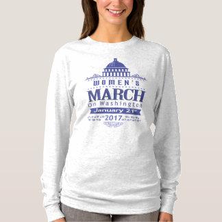 Maart van miljoen Vrouwen op het Blauwe Grijs van T Shirt