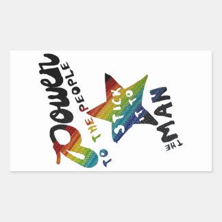 Macht aan de Mensen (Retro Flard van de Regenboog) Rechthoekige Sticker