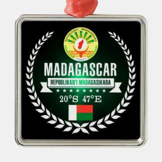 Madagascar Zilverkleurig Vierkant Ornament