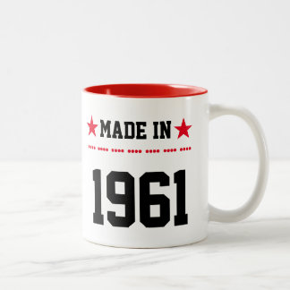 Made in 1961 tweekleurige koffiemok