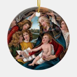Madonna en Kind: Florence, Italië Rond Keramisch Ornament