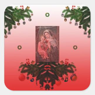 Madonna en Kind [Kerstmis] Vierkante Sticker