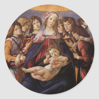 Madonna en Kind met Engelen door Sandro Botticelli Ronde Sticker