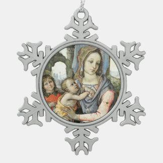 Madonna en Kind met Heilige Joseph en een Engel Tin Sneeuwvlok Ornament