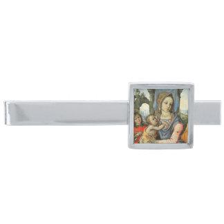 Madonna en Kind met Heilige Joseph en een Engel Verzilverde Dasspeld