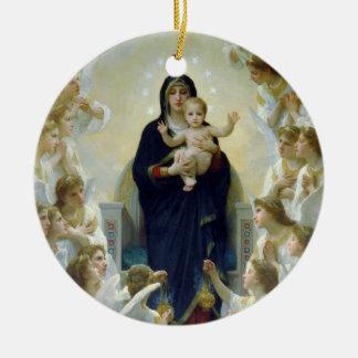 Madonna + Engelen, Bouguereau Rond Keramisch Ornament