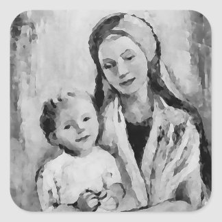 Madonna - Mary en Kind - geloofsstickers Vierkante Sticker