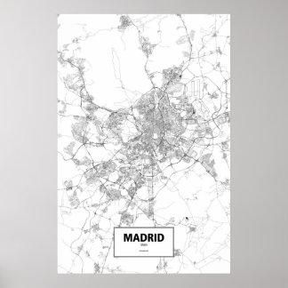 Madrid, zwart Spanje (op wit) Poster
