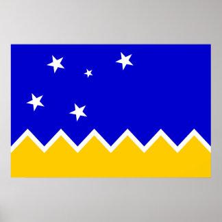 Magallanes, de vlag van Chili, Antarctica Poster