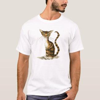 Magere bruine gestreepte katkat t shirt
