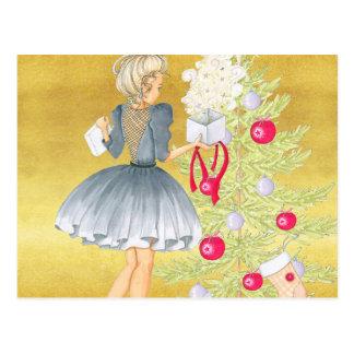 Magisch van Kerstmis - Blonde die een Boom Briefkaart