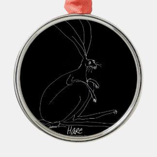 magische hazen zilverkleurig rond ornament