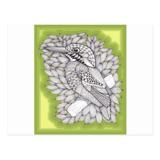 Magische Ijsvogel Zentangle op Salie Wens Kaart