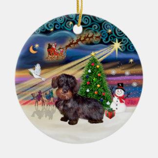Magische Kerstmis - Haired Tekkel van de Draad Rond Keramisch Ornament