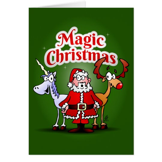 Magische Kerstmis met een eenhoorn Kaart