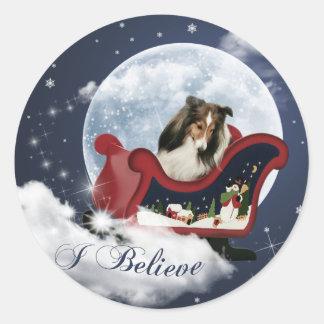 Magische Kerstmis Sheltie Ronde Sticker