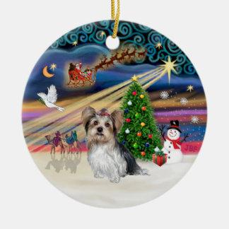 Magische Kerstmis - Yorkie (Biewer) Rond Keramisch Ornament