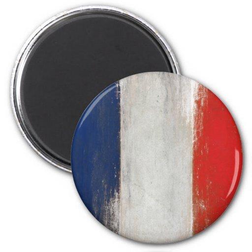 Magneet met Vuile Vintage Franse Vlag