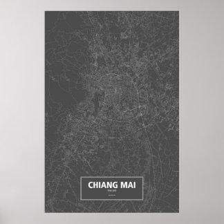 MAI van Chiang, wit Thailand (op zwarte) Poster