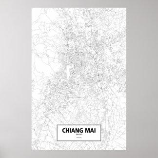 MAI van Chiang, zwart Thailand (op wit) Poster