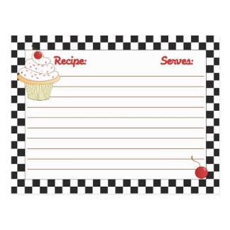 Mailable Kaarten van het Recept van Cupcake van de briefkaarten