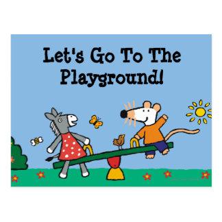 Maisy en Gespikkeld Geschommel bij de Speelplaats Briefkaart