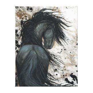 Majestueus Friesian Paard door Bihrle Canvas Druk
