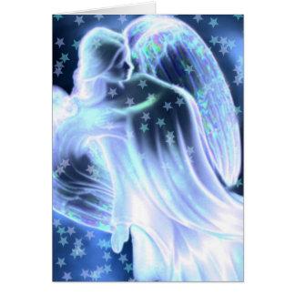 Majestueuze Blauwe Engel met het Wenskaart van