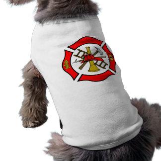 Maltees DwarsRood Mouwloos Hondenshirt