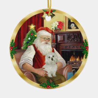 Maltees van de kerstman (#11) rond keramisch ornament