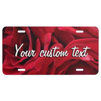 Mama de romantische rode bloemenfoto van nummerplaat