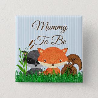 Mama om de BosSpeld van de Dieren van het Schepsel Vierkante Button 5,1 Cm